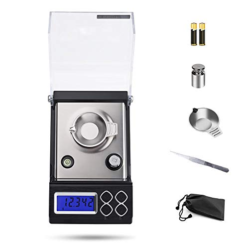 - Hochoice High-Precision Digital Milligram(0.001g-20g) Portable Pocket Scale Jewelry Scale Scale Precision Electronic Scale with Calibration Weights Tweezers, Weighing Pans, LCD Display 2 AAA Batteries