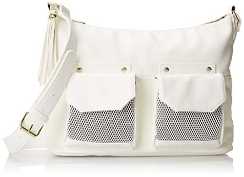 (POVERTY FLATS by rian Mesh Detail Large Cross Body Bag, White, One Size)