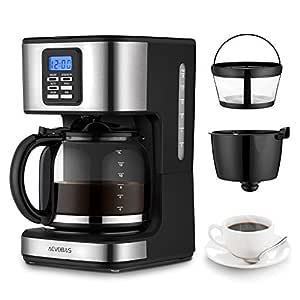 aevobas Máquina de café Americano, 900 W Máquina de café eléctrica de 12 tazas con té Función, filtros de café Americano con antigoteo, programable, ...