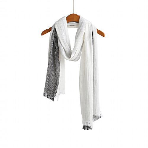 Lightweight Crinkle Scarf - Cotton Scarf Shawl Wrap Soft Lightweight Scarves And Wraps For Men And Women. (Black white gradient)