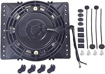 American Volt Reversible Electric Engine Fan 12V Radiator Condenser Cooler High Performance Motor Air Flow Power CFM 6 Inch