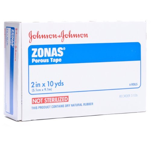 Johnson and Johnson First-Aid Zonas Porous Tape - 2 Inches X 10 Yards Per Tape - 6 Rolls of Tape by Johnson & Johnson