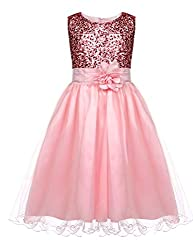 Girls Sequin Sleeveless Birthday Party Dress