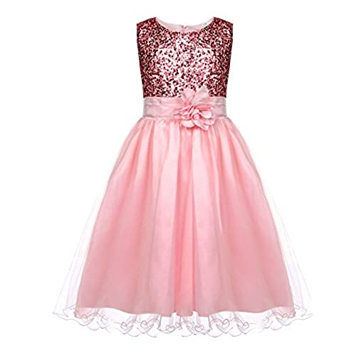HOTOUCH Sparkly Multi Sequin Triple Layered Tulle Skirt Floral Brooch Flower Girl Dress pink 5T