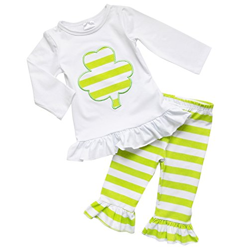 So Sydney Toddler Girls 2 Pc St. Patrick's Day Shamrock Green Holiday Outfit (S (3T), Lime Green Striped Shamrock) (St Patricks Outfit)