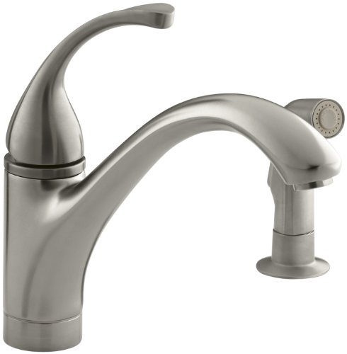 (KOHLER K-10416-BN Forte Single Control Kitchen Sink Faucet with Sidespray and Lever Handle, Vibrant Brushed Nickel)