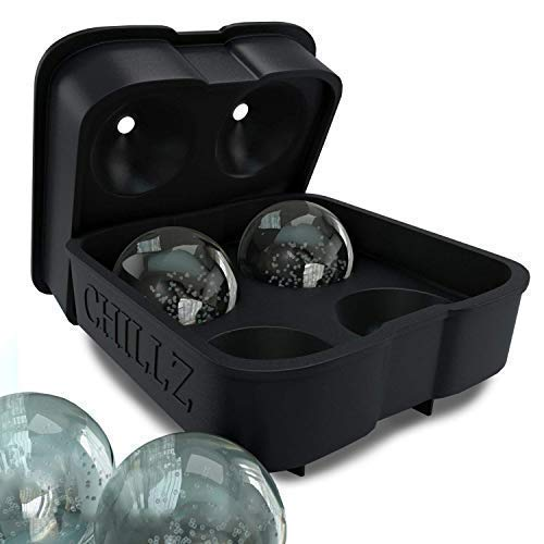 Chillz Ice Ball Maker Mold - Black Flexible Silicone Ice Tray - Molds 4 X 4.5cm Round Ice Ball Spheres ()
