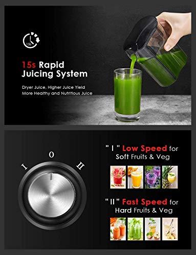 Centrifuga Frutta e Verdura, Aicook 600W Estrattore di Succo a Freddo a 65MM Bocca, Acciaio Inossidabile a Usi… 5