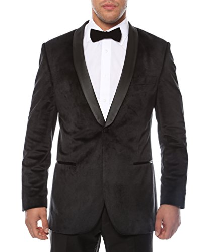 36S Zonettie ENZO Black Slim Fit Shawl Tuxedo Blazer (Black Jacket Blazer Vintage Velvet)