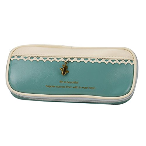Oksale Portable Leather Pencil Pen Case Stationery Zipper Pouch Pocket Cosmetic Makeup Bag (Green) (Makeup In The 80s)