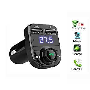 Bluetooth FM Transmitter, Autoday Vehicle LED Wireless Car Adapter MP3 Player Handsfree USB Car Charger Music Receiver Car Kit