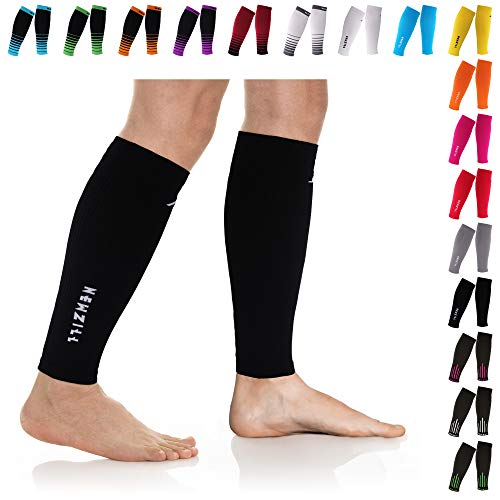 NEWZILL Compression Calf Sleeves (20-30mmHg) for Men & Women - Perfect Option to Our Compression Socks - for Running, Shin Splint, Medical, Travel, Nursing, Cycling (S/M, Solid Black)