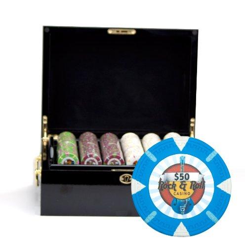 Claysmith Gaming Rock and Roll Poker Chip Set, Black/Mahogany, 13.5gm (Logo Hard Rock Cafe)