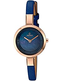 Women's Quartz Stainless Steel and Leather Dress Watch, Color:Blue (Model: V129LXVLRA)