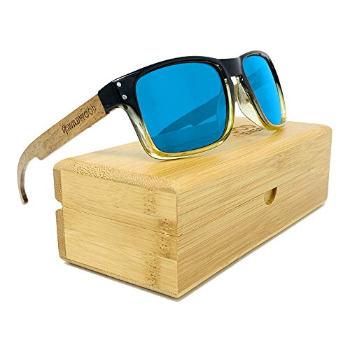 The Laguna Wood Sunglasses for Men with Recycled Frames and Walnut Wooden Arms (Ice Blue Mirror Lenses (Regular ()