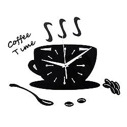 TOOGOO 3D DIY Acrylic Wall Clock Modern Kitchen Home Decor Coffee Time Clock Cup Shape Wall Sticker Hollow Numeral Clock black