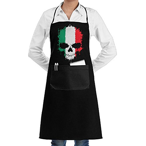 (Italian Flag Skull Adjustable Cooking Chef Apron With Front Pocket For Mens And Womens )