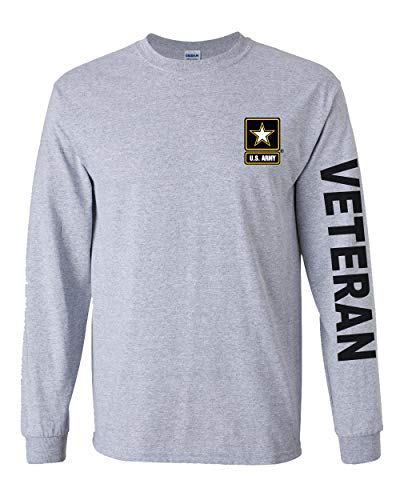 Officially Licensed United States Army Veteran Long Sleeve T-Shirt (Grey, Medium)