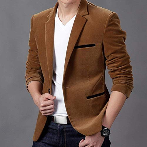 Suit Lunghe Giacche A Maniche Slim Business Fit Bavero Moderna Leisure Khaki Elegante Dunkles Uomo Casual Giacca Da vpOqSS