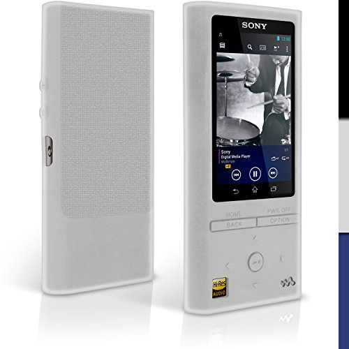 iGadgitz Clear Silicone Skin Case Cover for Sony Walkman NW-ZX100 128GB High-Resolution Audio MP3 Player + Screen Protector