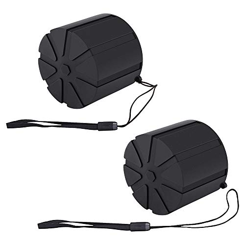 (Camera Lens Cap,Silicone Waterproof Lens Cover Protector with Anti-Lost Rope for Most of DSLR Lenses,2PCS)