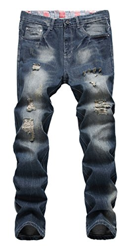 (FEESON Men's Ripped Slim Fit Straight Denim Jeans Vintage Style with Broken Holes 08 W31)