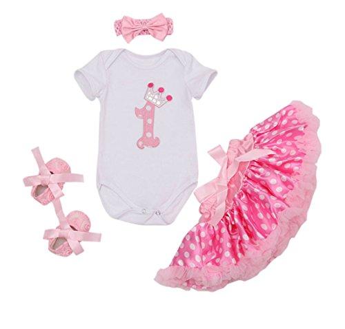 40 Blend Chino Skirt (Marlegard Baby Girls' 4PCs 1st Birthday Dress Polka Dots Skirt Headband Shoes (18M(12-18months), Pink))