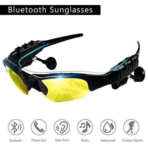 Eleganlife Sunglass Headphones Bluetooth Sunglasses Wireless Bluetooth Headsets V4.1 Stereo Handfree Bluetooth Headphones Foldable Polarized Lenses UV Protection Outdoor Sports Cycling Sunglasses for