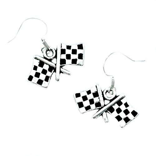 (Checkered Flag Charm Earrings)