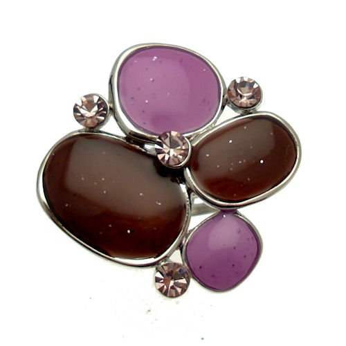 Acosta - Shimmering Purple Enamel & Lilac Crystal - Adjustable Abstract Ring