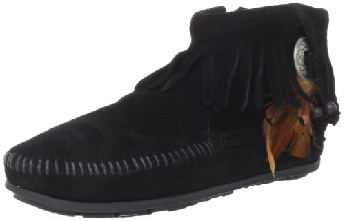 Minnetonka Women's Concho/Feather Side Zip Boot,Black,7.5 M US (Womens Concho)