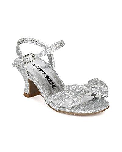 61759516f2e Glitter Leatherette Open Toe Strappy Ankle Strap Kiddie Heel Sandal ...