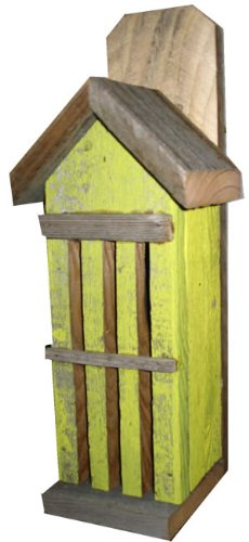 Butterfly House: Recycled Fence Wood, Yellow, Hand Made in Oklahoma USA