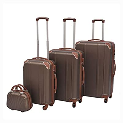 HomyDelight Suitcase, 4 Piece Hardcase Trolley Set Coffee