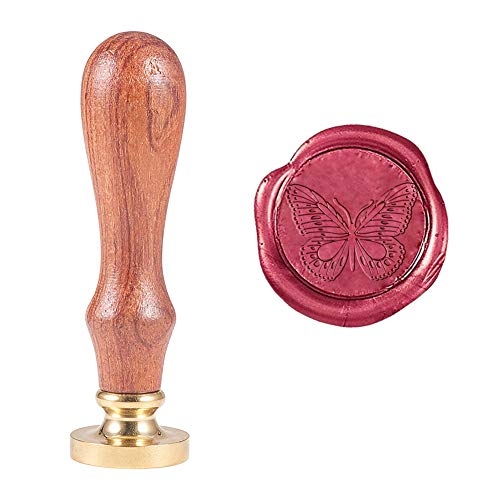 PH PandaHall Butterfly Wax Seal Stamp Vintage Retro Butterfly Sealing Stamp for Embellishment of Envelopes, Party Invitations, Wine Packages, Gift Packing
