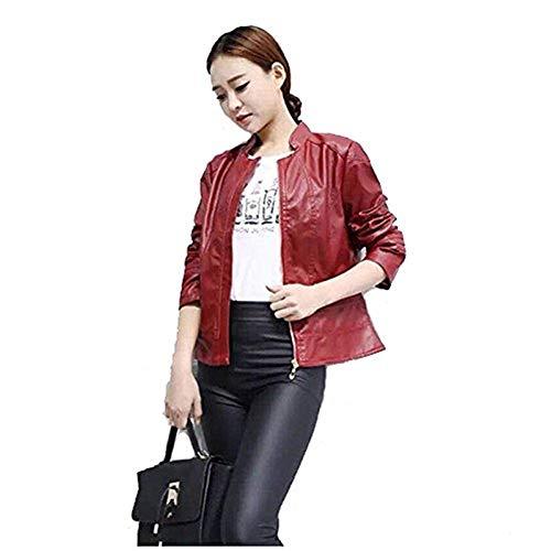 In Cerniera Libero Slim Donna Donne Rot Giacca Outerwear Pelle Fashion Monocromo Autunno Classiche Con Invernali Coat Cappotto Forti Fit Tempo Elegante Similpelle Taglie U70x7fw