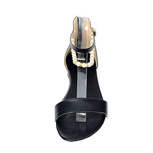 GMBLA012352 Bas Ouverture Zip Couleur AgooLar Noir Unie Talon Femme à Cuir PU Sandales d'orteil Zxqwnf74wv