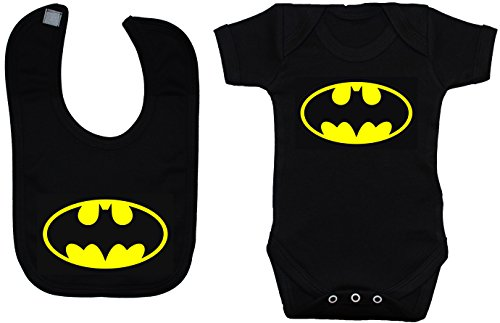 babero chaleco y Black Batman Body meses a 12 de Baby mameluco 0 Batman camiseta qxwCYT