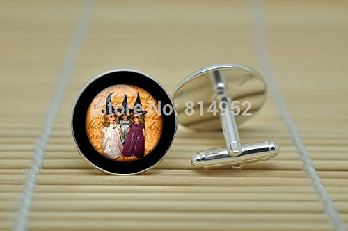 - Pretty Lee Witches Jewelry Witch Halloween Trick Or Treat Cufflinks In Silver Glass Cabochon Cuff Links C1069