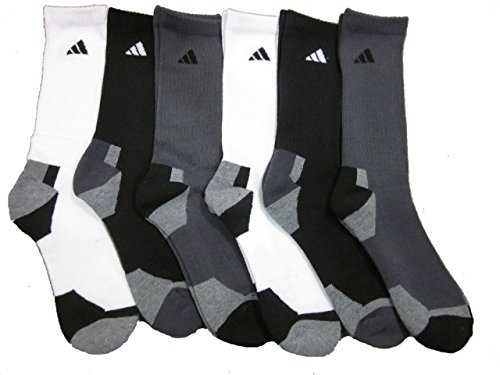 adidas Men's Athletic Crew Socks (6-Pack) White/Black/Gray/Heather Shoe Size 6-12 Adidas Athletic Crew Socks