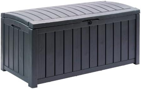 ARCON GLENWOOD | Arcón de jardín multifunción, sirve de asiento y arcón. Elegante acabado imitación madera. Fácil montaje. Resistente a cualquier climatología. No requiere mantenimiento. Incluye asa para fácil transporte. Capacidad de