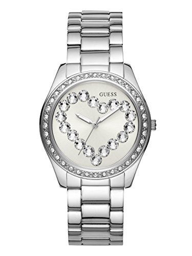 GUESS Women's Stainless Steel Crystal Heart Watch, Color: Silver-Tone (Model: U1061L1) (Steel Bracelet Guess)