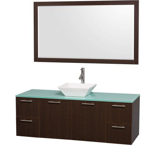 - Wyndham Collection Amare 60 inch Single Bathroom Vanity in Espresso with Green Glass Top with White Porcelain Sink, and 58 inch Mirror