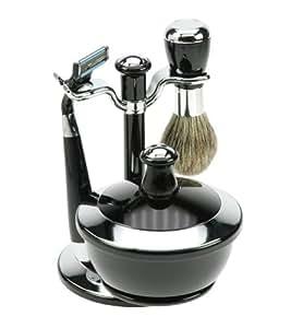 Fantasia 81021 - Juego de afeitado, cuchilla Mach 3, brocha con cerdas de tejón, incluye cuenco para el jabón con tapa de espejo, color negro