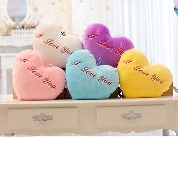 Alta calidad de colores flash LED Corazón romántico luminosos almohada peluche juguetes de peluche - White