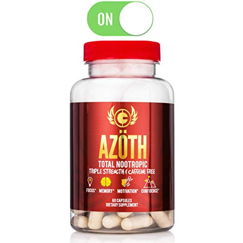 AZOTH Super Strength Nootropic For Focus, Anxiety, Motivation, Confidence, Mood, & Cognitive Enhancement-100% Caffeine Free-MADE IN USA in FDA & cGMP Compliant Facility (Best Over The Counter Drug Like Adderall)
