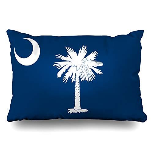 Hilton Head Collection - Ahawoso Throw Pillow Cover Queen 20x30 Liberty Blue Tree South Carolina State Head Emblem Hilton Palm Abstract Design America Zippered Cushion Case Home Decor Pillowcase