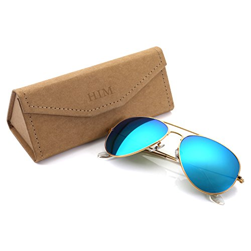 Aviator+Sunglasses+Polarized+for+Men+Women%2CFlash+Mirror+Lens+UV400+Sunglasses+Eyewear+with+Sun+Glasses+Case+%28Blue%2FGold+Frame%2C+62%29