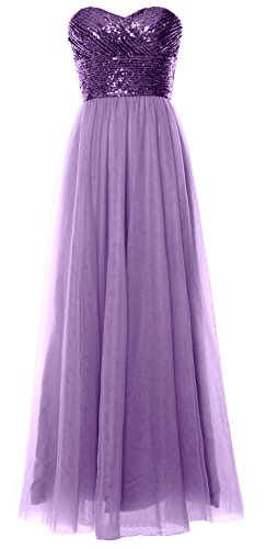 MACloth Women Long Bridesmaid Dress Strapless Sequin Wedding Party Formal Gown Purple-Lavender