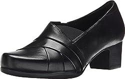 Clarks Women's Rosalyn Adele Black Leather 7 2A - Narrow